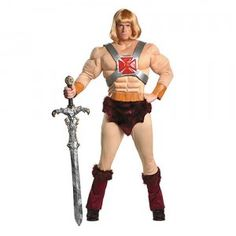 The Masters of the Universe He-Man Adult Costume comes with a jumpsuit with attached faux fur accents and a He-Man wig.