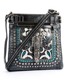Black Embroidered Western Messenger Bag | zulily