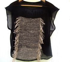 Ritual Knit and Woven Fringe Top by backyardsk on Etsy