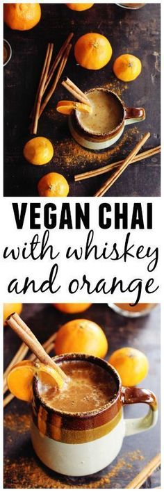 Almond milk chai with whiskey and orange recipe! A warm and cozy vegan chai cocktail with whiskey and fresh orange juice. Delicious! // Rhubarbarians // #whiskey #vegan #chaitea #cocktail