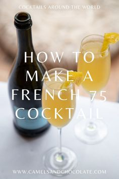 Cocktails Around the World: The French 75 from Paris Mixed Drinks, Fun Drinks, Yummy Drinks, Alcoholic Drinks, Party Drinks, Beverages, Summer Cocktails, Classic Cocktails, Champaign Cocktails