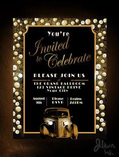 Happy Birthday Invitation Card, Sleepover Invitations, Christmas Party Invitation Template, Wedding Invitation Cards, Printable Party, 1920s Party, Gatsby Party, Invitation Maker, Invitation Design