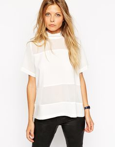 ASOS Sheer And Solid High Neck Tee