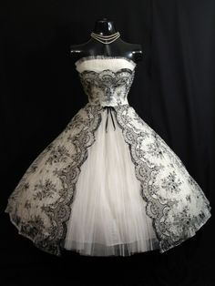 Vintage 1950's 50s Bombshell STRAPLESS Black White Metallic Floral Flocked Tulle Party Prom Wedding DRESS. $599.99, via Etsy.