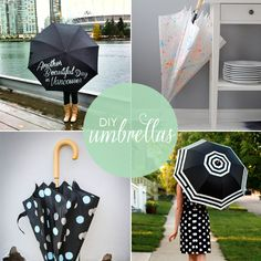 Here are a few ideas for whipping up your own fashionable DIY umbrella! Perfect for rainy season, here are 10 DIY umbrellas that will accessorize your rainy days in style! Diy Arts And Crafts, Fun Crafts, Diy Jewelry Bags, Cool Diy Projects, Projects To Try, Stencil Diy, Stencil Painting, Fabric Painting, Rain Go Away