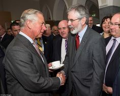 Historic: The visit comes after the Prince Charles shook hands with Sinn Fein president Gerry Adams at the National University of Ireland yesterday