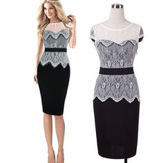 6ffea85090 Online Shop 2014 summer new short sleeve dress lace pencil package hip  Europe and American special approval career women causal dress