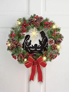 BEAUTIFUL LIGHTED CHRISTMAS NATIVITY WALL WREATH HOLIDAY DECOR NEW