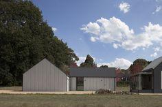 Modern Barn Outside, Minimal Studio and Gallery Space Inside