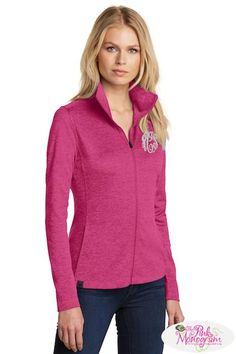 OGIO designed a super soft jacket with a textured pixel pattern a great sweater alternative A full zip monogrammed jacket comes in Vibrant colors.  www.thepinkmonogram.com   www.just preppy.com