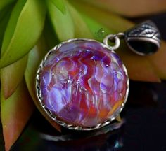 I think my Gram would have loved this. Lampwork Pendant, Lampwork Jewelry, Silver Glass Jewelry, Handmade Pendant, Cabochon, Swarovski Crystal, Handmade Charm, Gift For Her