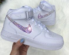Swarovski Crystal Nike Air Force 1 Mid Women s Bling Diamond Sneakers Bling  Shoes ba077a470