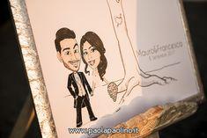 La caricatura degli sposi in stile cartoon, personalizzata e utilizzata per il guestbook con le impronte degli ospiti.   #caricaturista