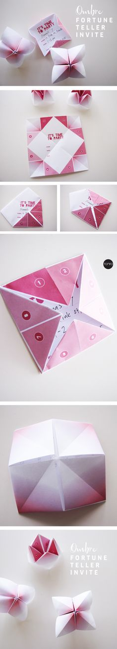 DIY fortune teller invite in gorgeous pink ombré. A free printable what a sweet idea!