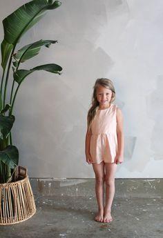 {002} Blush handmade children's romper.  Perfect kids romper for summer fashion.