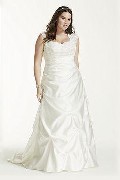066e8603d693 Extra Length Satin Cap Sleeved Side-Draped Plus Size Wedding Dress - White,  0. Stephanie · vintage ...