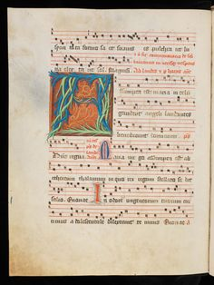 Origin: Fribourg, Franciscan Monastery  Period: 15th century   Image source: Fribourg/Freiburg, Couvent des Cordeliers/Franziskanerkloster, Ms. 6: Antiphonarium ( www.e-codices.unifr.ch/en/list/one/fcc/0006 )