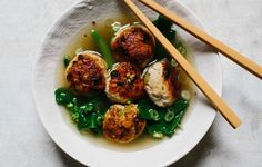 Ginger-Chicken Meatballs with Chinese Broccoli - Bon Appétit