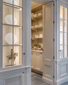 Kitchen Butlers Pantry, Glass Kitchen Cabinet Doors, Kitchen Pantry Design, Butler Pantry, New Kitchen, Kitchen Designs, Kitchen Ideas, Kitchen Decor, Decorating Kitchen