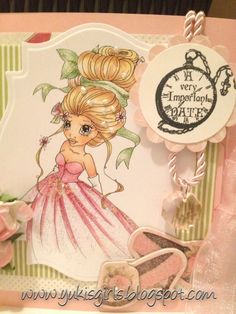 """Yuki's Girls ~ SC Fancy ~ Copics not listed; Paper: Carta Bella 'Beautiful Moments; Sentiment: Crafty Secrets-Greetings from Wonderland set-""""A very important date"""""""