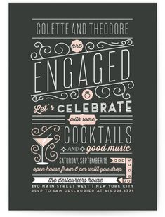 Engagement Cocktails And Music Engagement Party Invitations An Engagement Party Invite With A Vintage-retro Flair. Vintage, Grey Engagement Party Invitations From Minted By Independent Artist Bonjour Paper. Engagement Invitation Cards, Wedding Party Invites, Engagement Cakes, Engagement Party Invitations, Wedding Engagement, Engagement Parties, Wedding Stationary, Engagement Pictures, Engagement Shoots
