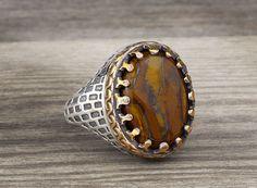 925 K Sterling Silver Man Ring Natural Brown Agate Gemstone 10 US Size #Handmade #Statement