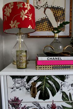 Swoon Worthy living room - chest of drawers vignette with tobacco candle