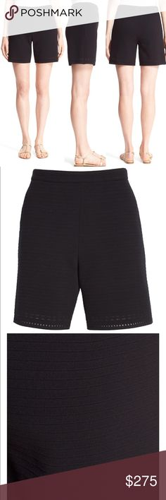 """St. John Collection Matte Crepe Knit Shorts, Black Delicate ribbing and openwork details at the hem add chic dimension to pull-on shorts spun from a lightweight knit with a fine crepe texture. 6"""" inseam; 27"""" leg opening; 10 1/2"""" front rise; 14"""" back rise (size 8). Hidden side-zip closure. Front slant pockets. Stretch-silk lining. 61% rayon, 39% polyester. Dry clean. By St. John Collection St. John Shorts"""