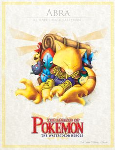 The Legend of Pokemon: Abra by David Pilatowsky Les Pokemon, Pokemon Funny, Pokemon Fan Art, Pokemon Sets, Pokemon Eevee, Pokemon Stuff, Pokemon Images, Pokemon Pictures, Digimon