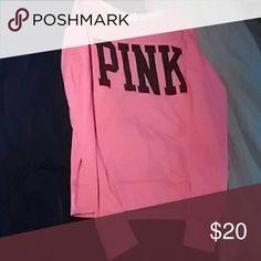 Vs pink sweatshirt Neon pink and black sweatshirt l Victoria's Secret Sweaters Crew & Scoop Necks