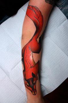 Fox Tattoo On Right Sleeve