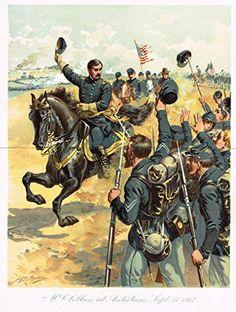 Ogden's History -Civil War - McClellan at Antietam, 1862 - Chromolithograph - 1899
