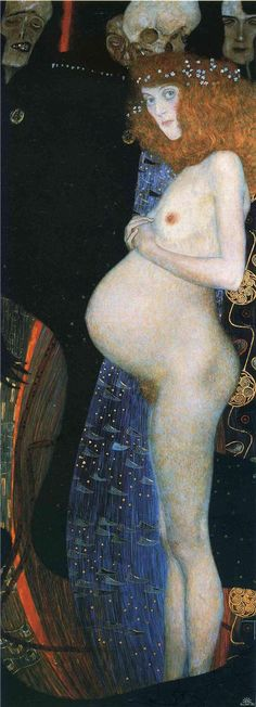 "Klimt the revolutionary. Gustav Klimt painted a few different ""Hope"" paintings, but the one I am interested in is ""Hope I"" painted in 1903 - This piece, back when pregnancy was considered ugly and vulgar. Gustav Klimt, Art Klimt, Franz Josef I, Street Art, Wow Art, Oil Painting Reproductions, Art For Art Sake, Oeuvre D'art, Les Oeuvres"