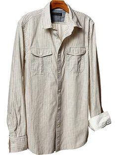 Banana Republic Slim fit micro-stripe chest pocket shirt $69.50