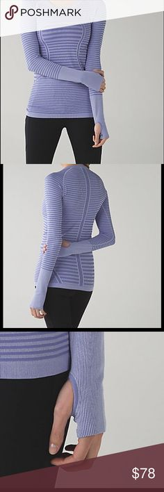 NWT Lululemon Swiftly LS Crew *Lucy Stripe Long-sleeve layer designed with sweating in mind. Seamless Lightweight Fabric, silverscent technology inhibits the growth of bacteria, mesh venting (for airflow), thumb holes to keep your hands warm, tight fit, hip length.  Colour:  Heathered Lullaby ~ Size 10 lululemon athletica Tops Tees - Long Sleeve