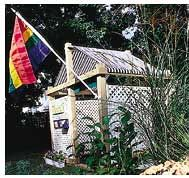 I love that this is lattice so i can see whats happening etc, not sure if the kids will like it?  Ooo can u imagine growing some beautiful morning glories all around it?  Gorgeous!!  Backyard Playhouse