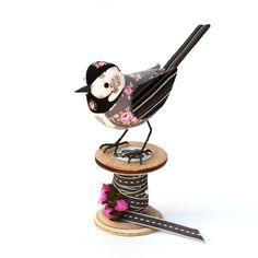 Fabric Bird PIEDWAGTAIL  Made to Order by TheCottonPotter on Etsy, £50.00