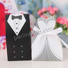 Hochzeit Süßigkeitenkasten, Papier, mit Satinband, Bekleidung, handgemacht, für paar, 100x58x38mm,85x58x38mm, 200Sets/Gruppe, 2Stücke/Set, v...