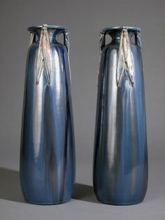 Rare pair of French Art Nouveau Period Vases by Jean Leclerc image 2