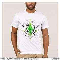 Tribal Mayan God Tattoo - green yellow T-Shirt