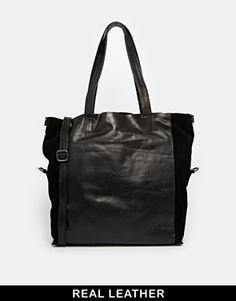 Urbancode Leather Black Unstructured Shopper Bag - Black