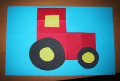 Leuk voor de jongens. Nu eens geen dier maar een tractor. 16 vierkantjes vouwen, 4 vierkantjes wegknippen bij de hoek en de overige opplakken? Zelf een grote en een kleinere zwarte cirkel omtrekken en uitknippen. Tenslotte nog 2 gele cirkels in het midden van deze wielen en de tractor is klaar.