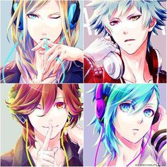 Them wearing headphones. -- Anime, Uta no Prince-sama, Quartet Night, fan art, characters, hot and attractive men, handsome males