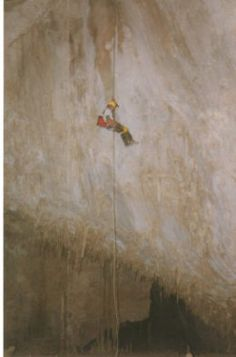 Rappel in to main room of Chimney Cave.