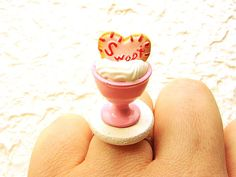 Cute Japanese Food Ring Vanilla Ice Cream Heart by SouZouCreations, $12.50