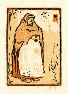 Marktweib (Market woman) by Emil Orlik Salon Style, Woodblock Print, Printmaking, Stained Glass, Mosaic, Arts And Crafts, Marketing, Abstract, Drawings