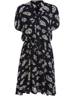 Black V Neck Leaves Print Buttons Dress  -SheIn