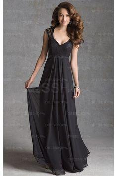 Black Deep V-neck Empire Chiffon A-line Bridesmaid Dresses - Long bridesmaid dresses - Bridesmaid Dresses - Wedding Party Dresses - Dresshop.com.au