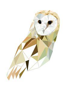 Barn Owl Art Print 8x10 or 11x14 Geometric Bird art by villavera