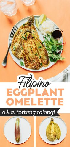 This Filipino Eggplant Omelet recipe (or Tortang Talong) has just 5 ingredients and is a delicious way to sneak veggies into your morning meal! #filipino #omelet #omelette #eggplant #brunch #breakfast #vegetarian Vegetarian Breakfast Recipes, Vegetarian Lunch, Brunch Recipes, Dinner Recipes, Asian Recipes, Healthy Recipes, Healthy Food, Healthy Eggplant, Brunch Casserole